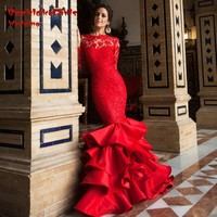 Evening Dress Luxury Satin Sexy Backless Mermaid Lace Long Sleeve Red Glamorous Prom Party Gown Custom