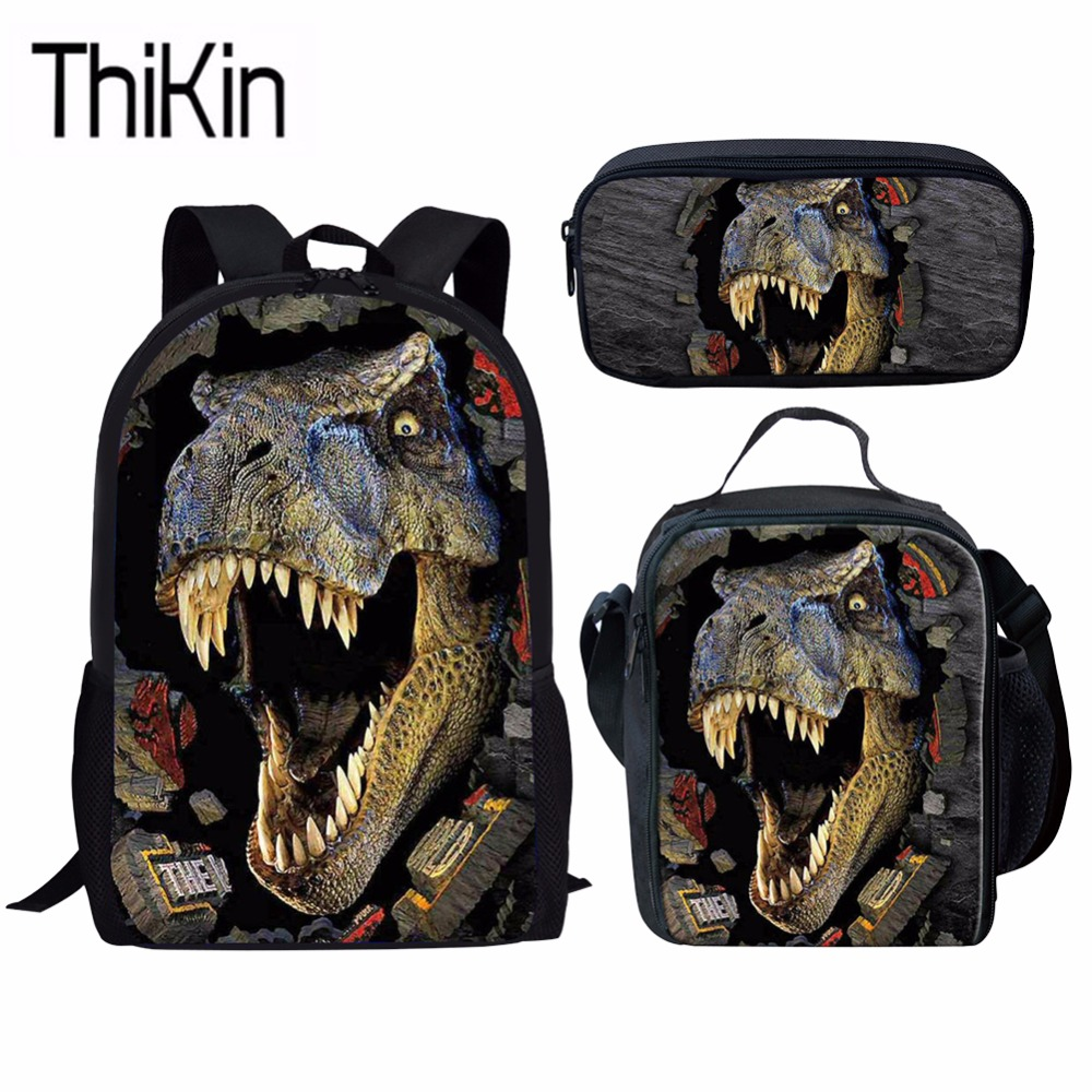 THIKIN 3Pcs/Set School Bags For Kids Boys 3D Dinosaur Printing Schoolbag Backpacks Children Cool Shoulder Backpacks Satchel