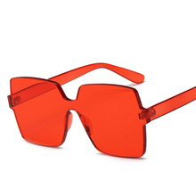 2018 New Fashion Women Flat Top Sunglasses Red Frame Rimless