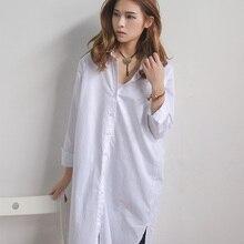 White Spring Women Long Shirt Solid Color Long Sleeve Women Shirt POLO Collar Cotton Shirt Blouse