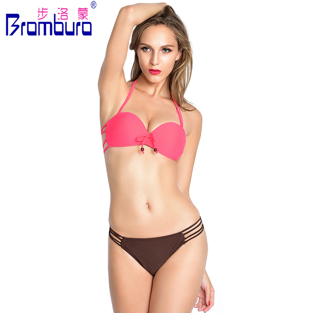 4087015215d9a Queen Style Vogue Solid Bandage Bikini Super Sexy String Swimwear High  Elasticity Women Halter Bikini Beach Wear Topless Biquini