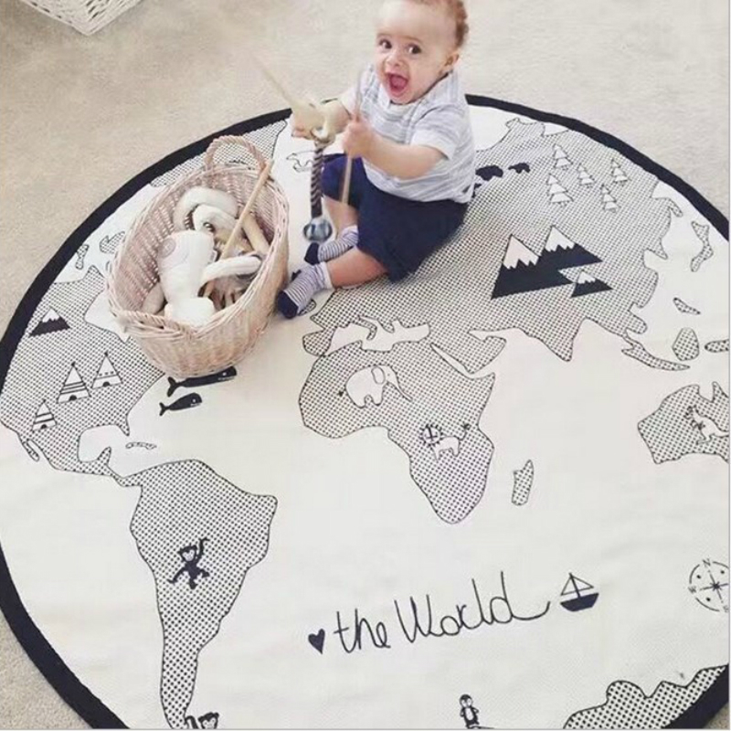 Map Kids Crawling Blanket Play Game Mats Round Carpet Rugs Pad Floor Activity Carpet Boy Girl Baby Room Decoration China Playpen learning carpets us map carpet lc 201