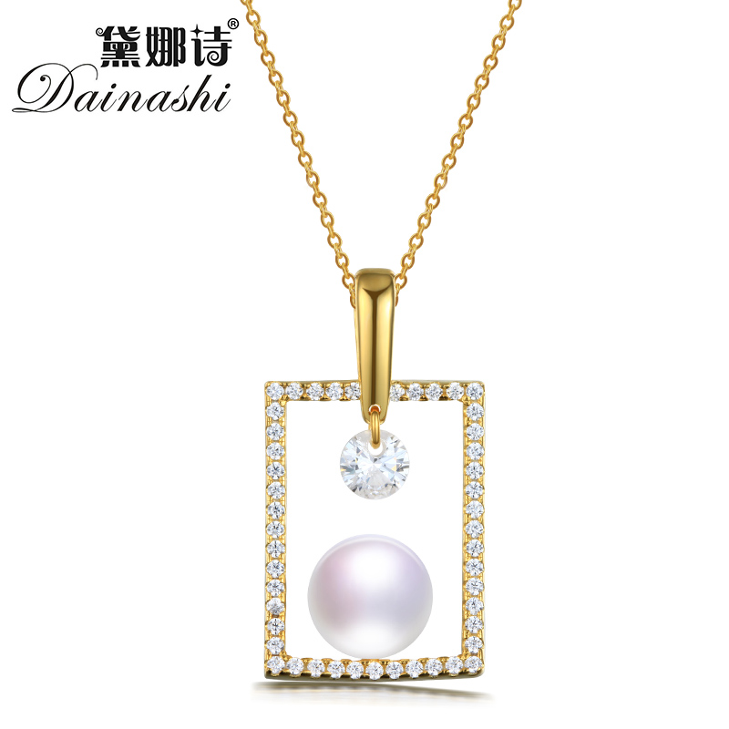 Dainashi New Trendy necklaces Round Big Pearl Pendant Necklace For Women Solid 925 Sterling Silver Fine Jewelry necklace women jzn0007 top quality blue opal gem silver necklace new trendy necklace for women fine jewelry gorgeous unisex chain necklace