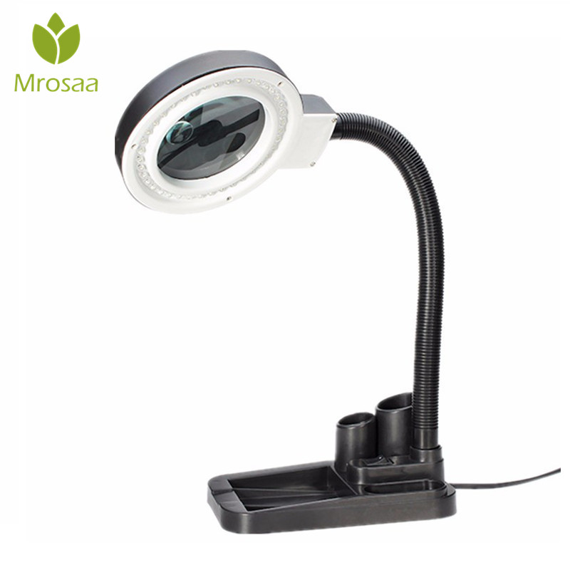 Mrosaa 250-350lm Table Lamp Lights 40 LED Lighting Magnifying Glass Lens Desk Lamp With 5X & 10X Magnifier Indoor Lighting led long arm lights flexible stand floor magnifier with 10x optical magnifying glass lens magnifier lamp 10x with led ight