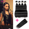 5Pcs/Lot Brazilian Virgin Hair Straight With Closure 7a Human Hair Bundles With Lace Closures Brazilian Hair Weave Bundles HC