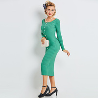 Sisjuly Women Autumn Sweater Dress Girls Long Sleeve Green Round Neck Mid Calf Dresses Girls Bodycon