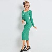 Sisjuly Women Autumn Sweater Dress Girls Long Sleeve Green Round Neck Mid Calf Dresses Girls Bodycon
