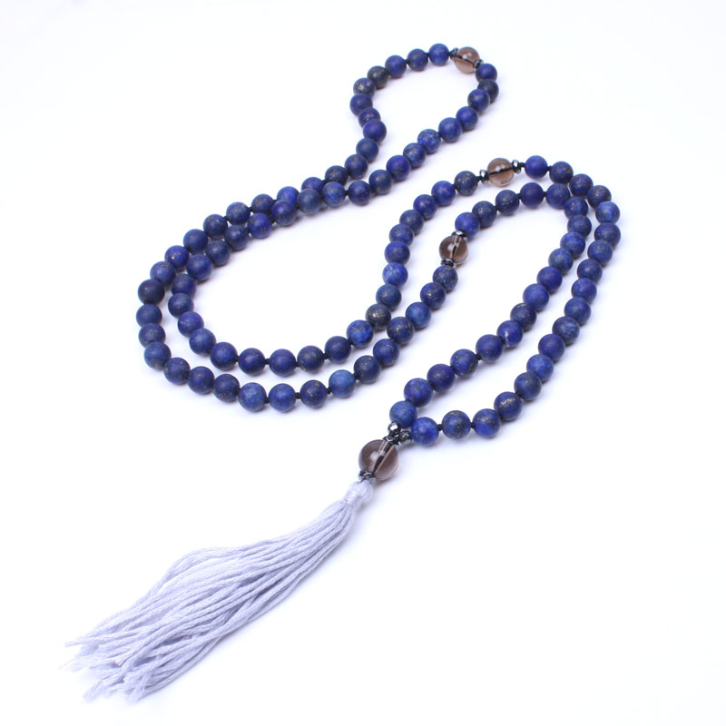 108 frosted lapis lazuli mala beads necklace cotton tassel long necklace for women yoga necklace dropshipping