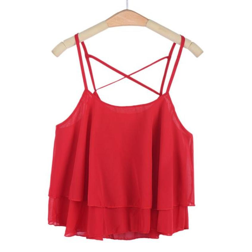 2018 Fashion Women Summer High Quality Sexy Fashion Women Irregular Summer Strap Floral Print Chiffon Shirt Camisole Vest