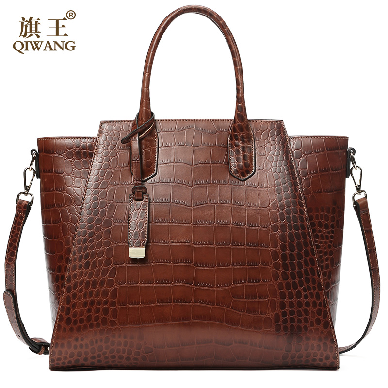 QIWANG Women Genuine Leather Bags Luxury Designer Handbags 100 Full Grain Cowhide Crocodile Pattern Large Capacity
