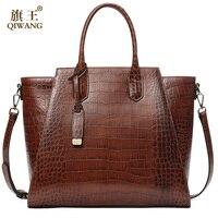 QIWANG Women Genuine Leather Bags Luxury Designer Handbags 100% Full Grain Cowhide Crocodile Pattern Large Capacity Tote Bags
