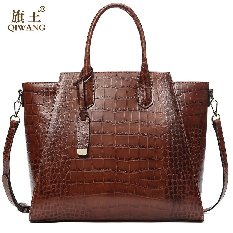 Qiwang Brown Authentic Women Bag 100% Genuine Leather Women Crocodile Handbag Vintage Large Tote Women Bag Brand Bag 2017 women tote bag 100