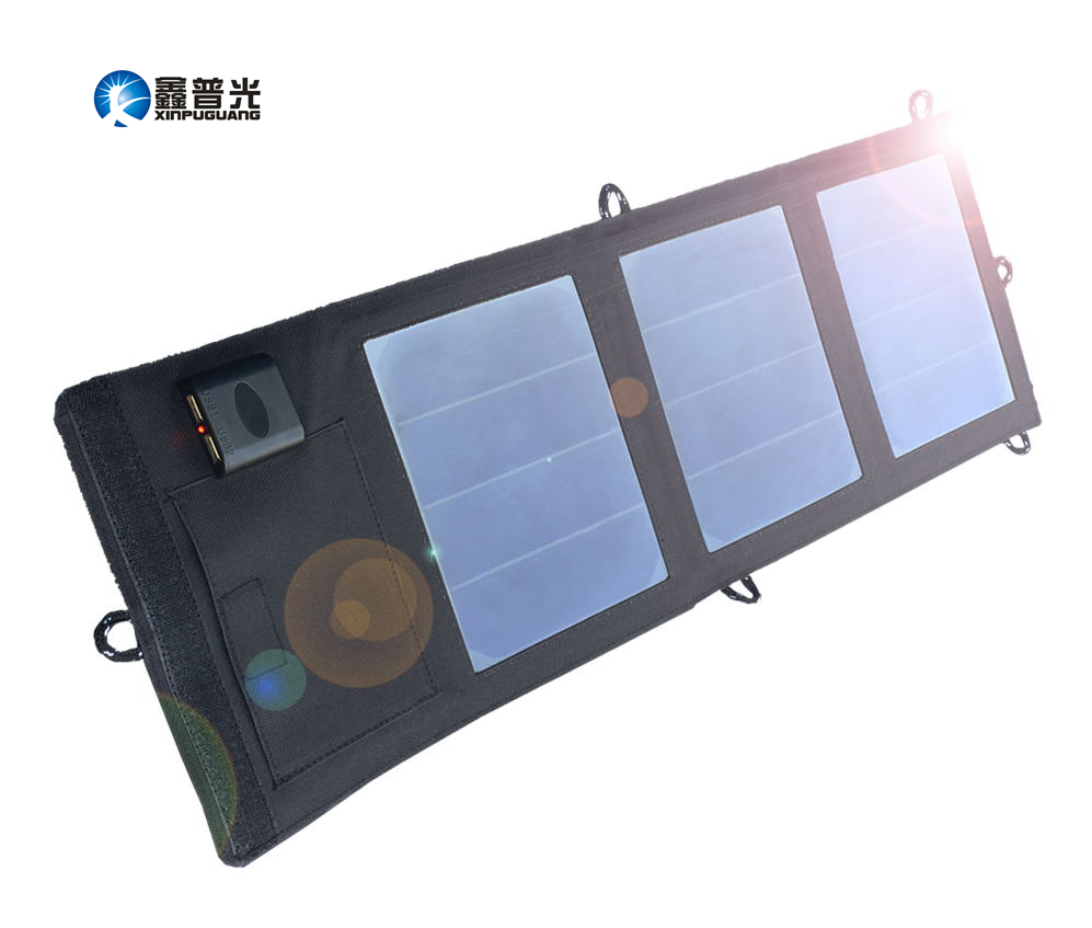 Xinpuguang 12W 5V solar panel charger 2A Dual USB Output Folding Portable Foldable Power Bank bag Solar Charger for Smart phone
