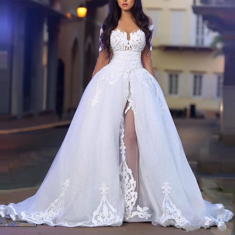 Boho Vestido De Noiva 2019 Muslim Wedding Dresses Ball Gown Long Sleeves Tulle Lace Slit Dubai Arabic Wedding Gown Bridal