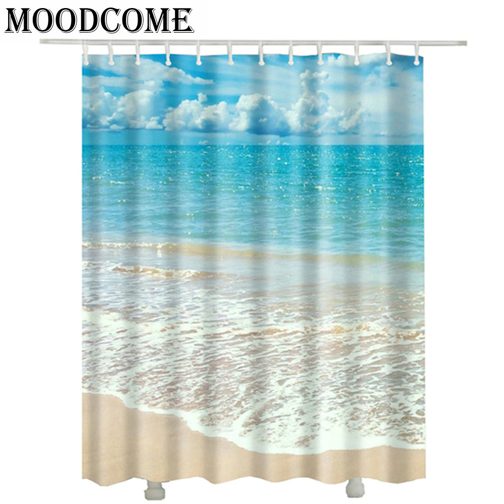 Rideau Douche Design 3d Beach Shower Curtains Polyester New Design Douchegordijn Rideau