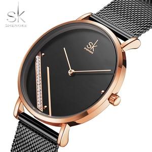 Image 5 - Shengke Montre Femme New Luxury Ladies Watch Fashion Simple Watches Womes Crystal Dial Quartz Watch Women Clock Relogio Feminino