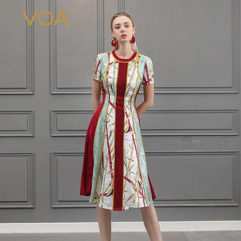VOA Silk Runway Midi Dress Designers Women Short Sleeve Slim Summer Party Dresses Ladies Beach Christmas Clothes vestidos A918