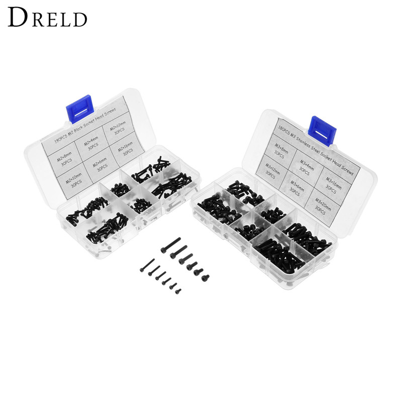 DRELD 340pcs Carbon Steel Button Head Allen Bolts Hexagon Socket Screws With Hex Nuts Assortment Kit M2+M3 M4/M6/M8/M12/M16/M20 50pcs lots carbon steel screws black m2 bolts hex socket pan head cap machine screws wood box screws allen bolts m2x8mm