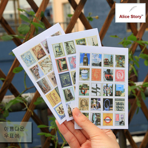 9 options Literature&Countries Scenery Stamp Stickers France/Italy/UK/Little Prince/Wizard of OZ/ Creative diary decorative