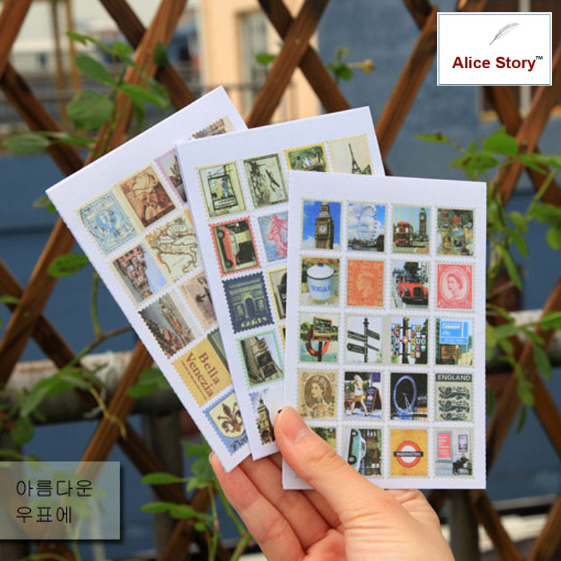 Vintage Travel Stamp Stickers Paris/Italy/London Diary Notebook Stickers Journal Stickers Home Deco Stickers