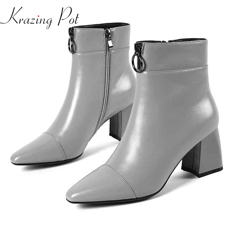 krazing pot 2018 cow leather women winter round front zipper high heels pointed toe Korean girl elegant charming ankle boots L89 krazing pot winter kid suede cow leather patch work high heel basic boots winter zipper round toe office lady ankle boots l12