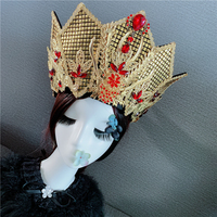 women's golden queen crown empress cosplay accessories crown hair accessories princess party cosplay head wear beautiful crown
