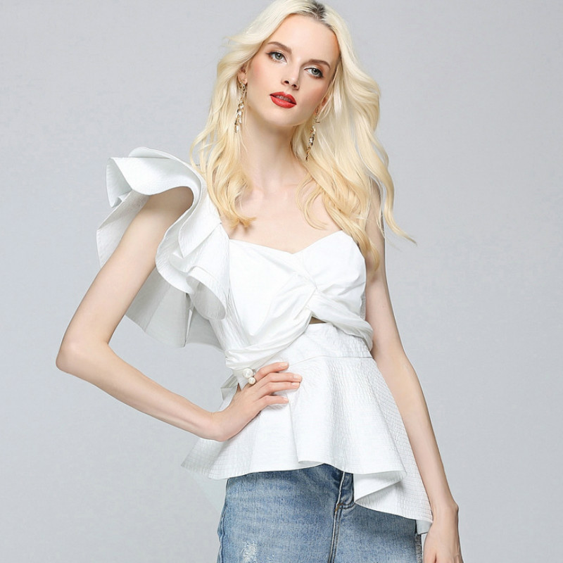 Sexy Lady Irregular One Shoulder Ruffles Shirts Off Shoulders Lotus Blouses Sleeveless Slim Pleated OL Bowtie Tops Blusas