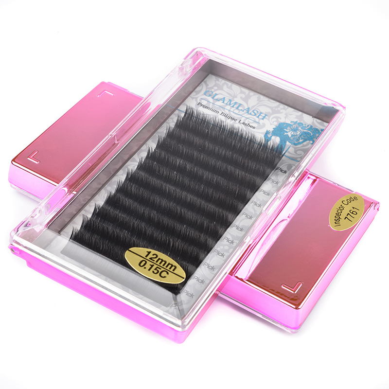 GLAMLASH Single Lenth Flat Ellipse False Lashes Eyelash Extension Split Tips Ellipse Shaped False Eyelashes in False Eyelashes from Beauty Health