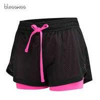 Blesskiss pantalones cortos deportivos para mujer ropa de entrenamiento de malla de verano Lulu corriendo gimnasio pantalones cortos de Yoga para mujer Pantalones cortos elásticos