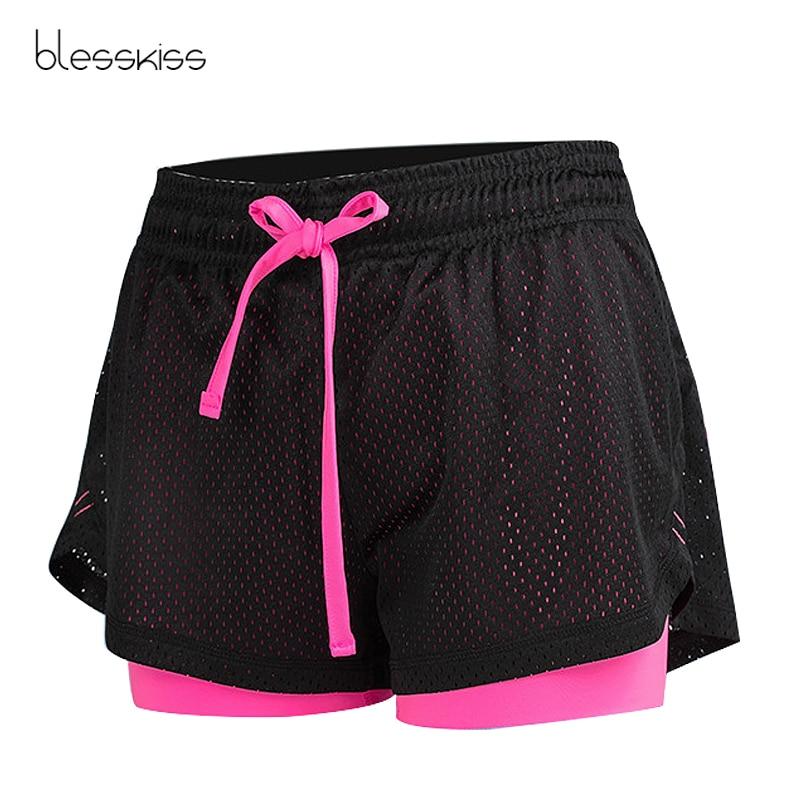 BLESSKISS 2 in 1 Mesh Sport Shorts Frauen Sommer Plus Größe Mädchen Lulu Laufen Radfahren Gym Yoga Shorts Für Damen fitness Kleidung