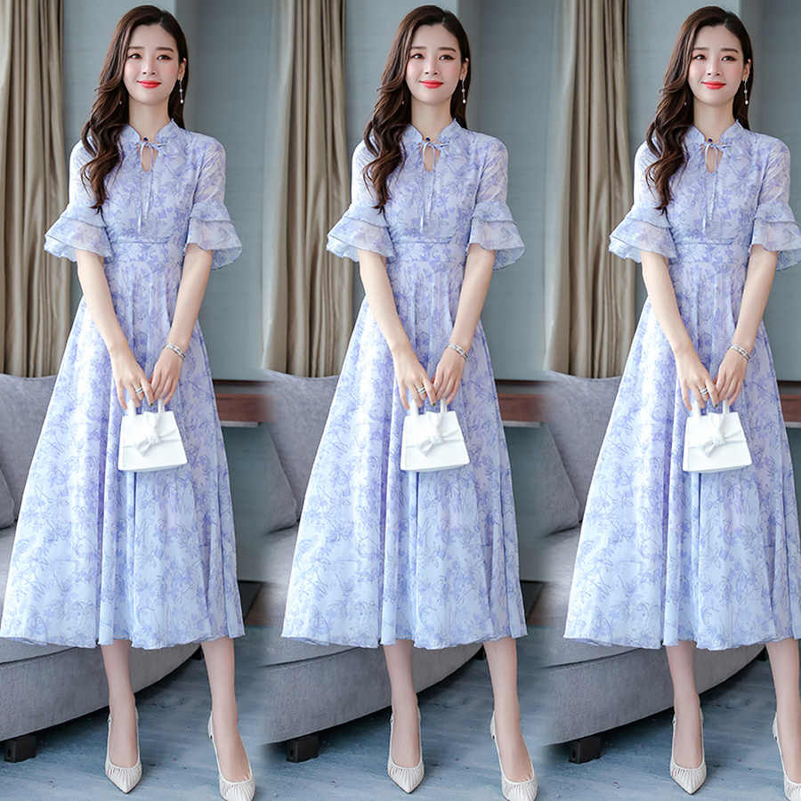 2019 Винтаж 3XL плюс размер цветочные шифоновые Boho Макси платья женские элегантные облегающие Вечерние платья Vestido летние пляжные платья миди с принтом
