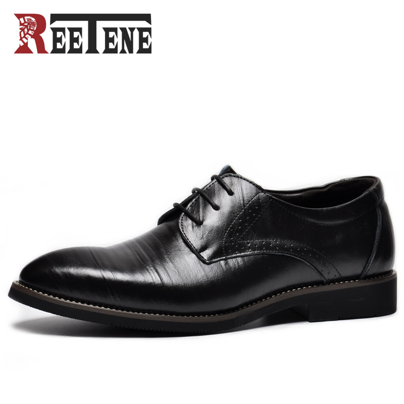 REETENE 2017 Fashion Mans Business Shoes Inserts Comfortable Flats Casual Shoes Men Genuine Leather Wedding Dress Shoes