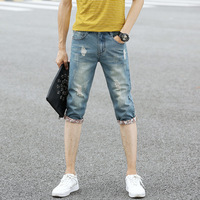 VEITCHE Brand 2017 Summer Men's Jeans straight Calf-Length pants Vintage ripped jeans for men Scratched Casual short denim jeans