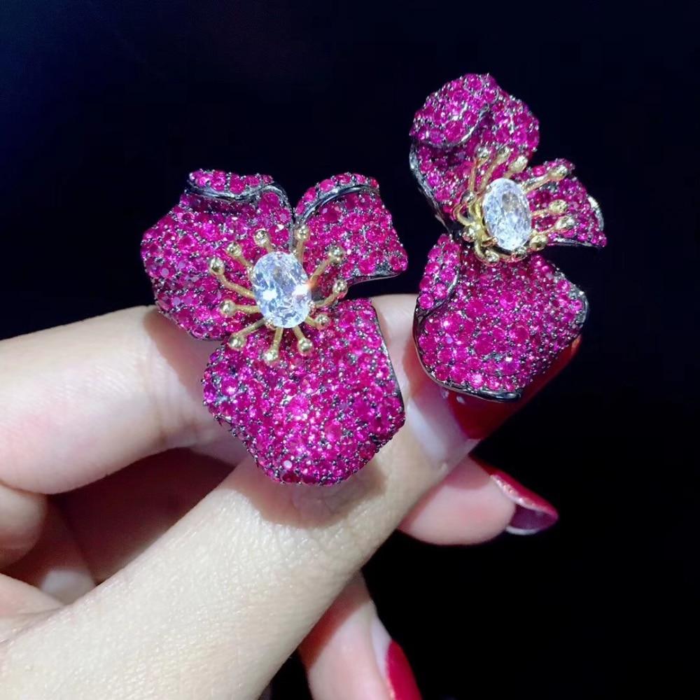 Romantique 925 en argent sterling avec zircon cubique fleur stud boucle d'oreille grande fleur mode femmes bijoux couleur bleu vert