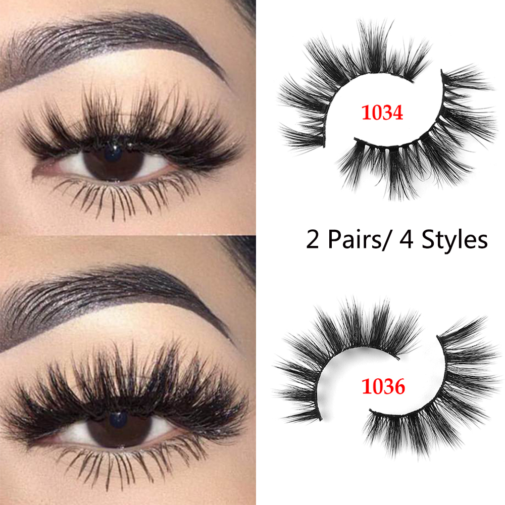 1/2Pairs 3D Mink Hair False Eyelashes Wispy Natural Long Glam Lashes 100% Cruelty Free Reusable Eye Extension Makeup Tools