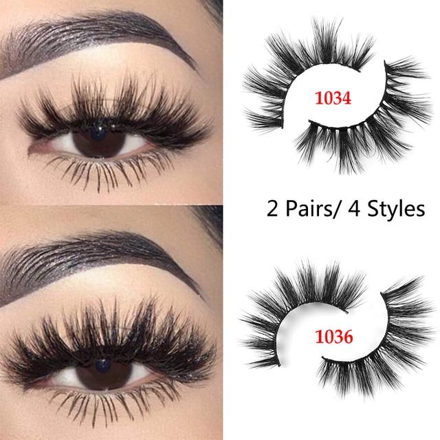 fa07acfc997 2 Pairs 3D Mink Hair False Eyelashes Wispy Natural Long Glam Lashes 100%  Cruelty free