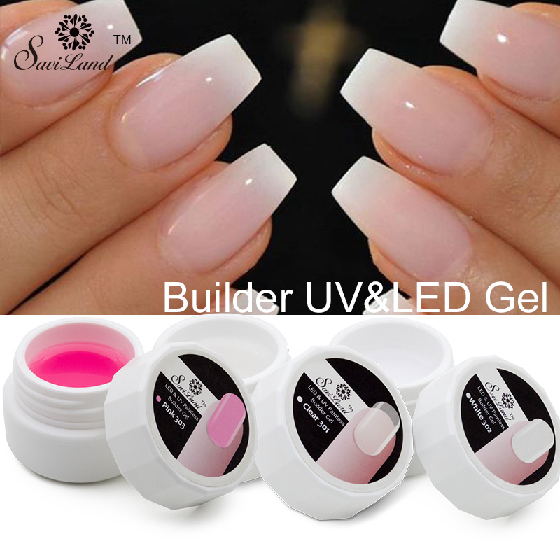 Nail Extensions Gel: Saviland 1Pcs Pink White Clear UV Builder Gel Crystal