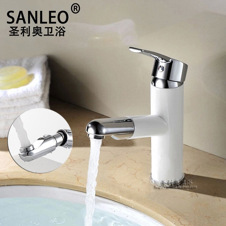 Pull Out Kitchen Faucet Brass Polished Silver White Paint Basin Faucets Swivel Single Handle Hole Mixer Water Taps Deck MountedPull Out Kitchen Faucet Brass Polished Silver White Paint Basin Faucets Swivel Single Handle Hole Mixer Water Taps Deck Mounted