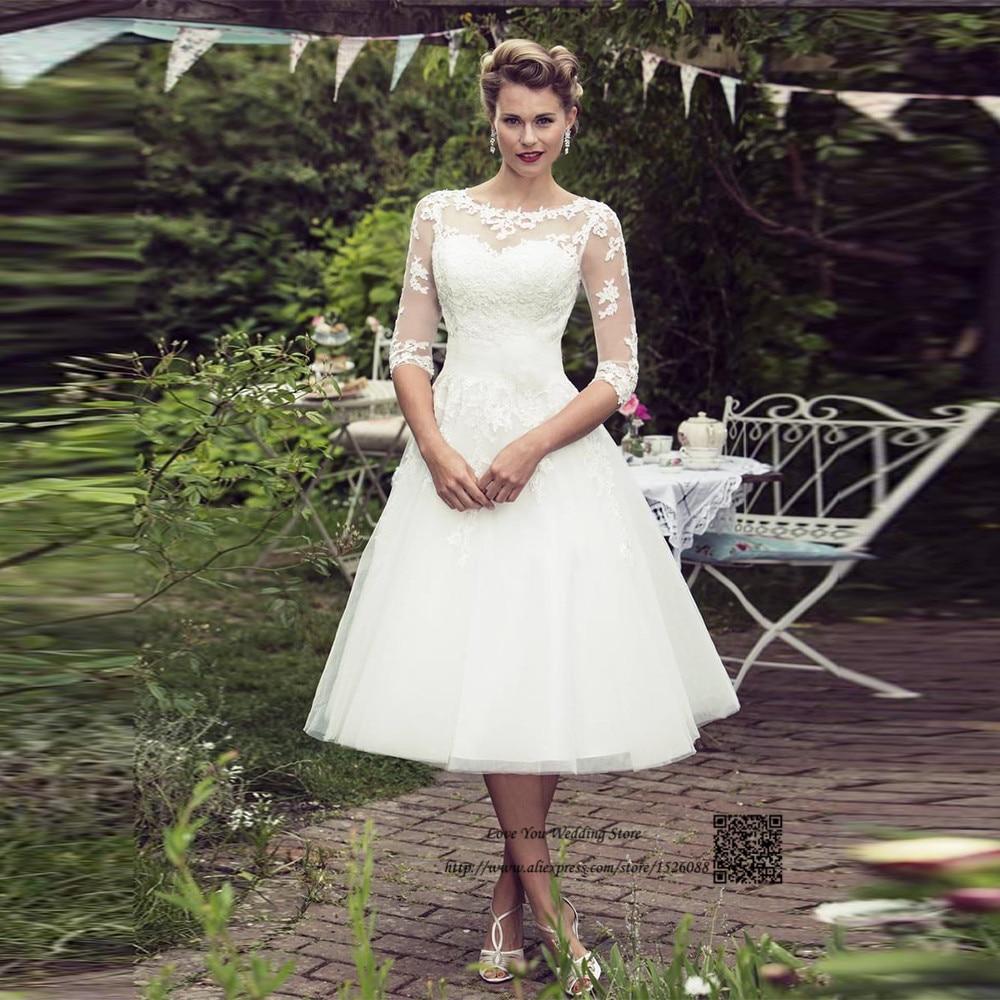 Christmas Tea Length Wedding Dress Short Lace Bride