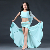 Belly Dance Costume Set Girls Tops Gypsy Skirt Long Belly Dancing Children Oriental Dance Costumes Indian Clothes Kids DN2848
