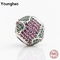Younghao Jewelry 925 Sterling Silver Purple Flower CZ Crystal Beads Fit Original Pandora Charm Bracelet DIY Making Women Gifts