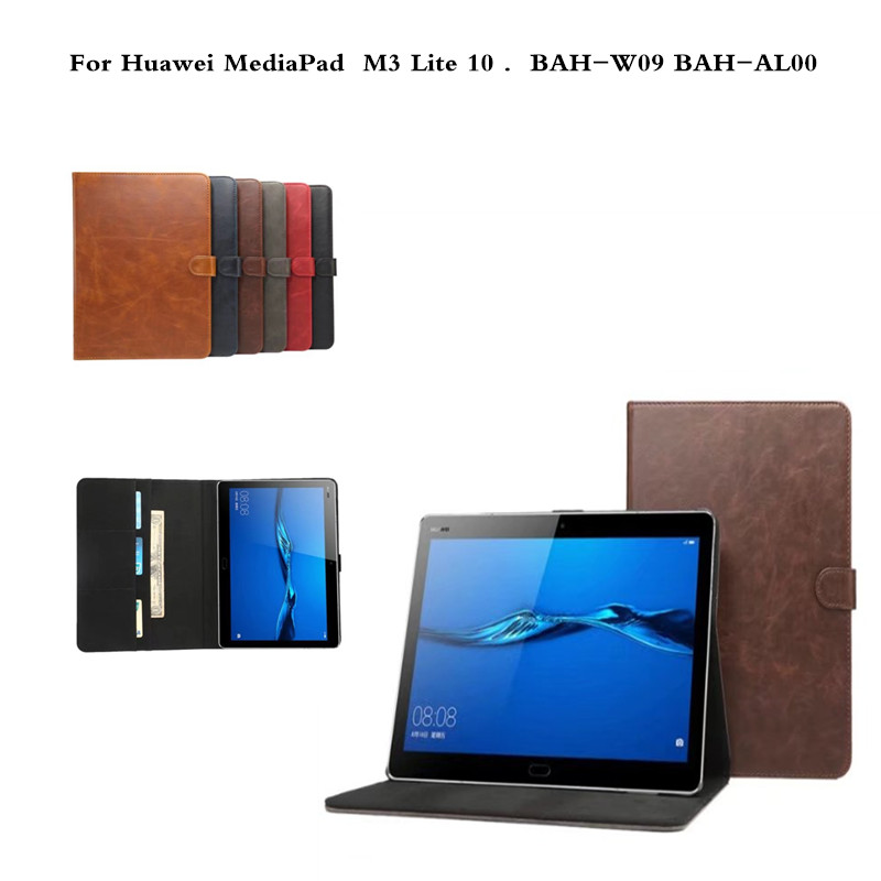 Retro PU Leather Cover Business With Card Holder Case For Huawei MediaPad M3 Lite 10 10.0 BAH-W09 BAH-AL00 10.1 inch Tablet pu leather cover for huawei m3 lite 8 0 stand case with stylus holder for huawei mediapad m3 lite 8 0 cpn al00 w09 tablet case