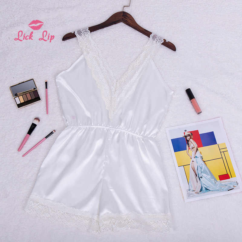72042742d ... Lick Lip Sexy Lace Onesies For Adults Shorts Sleepwear Jumpsuit Pajamas  Romper Satin Women White Pyjama ...