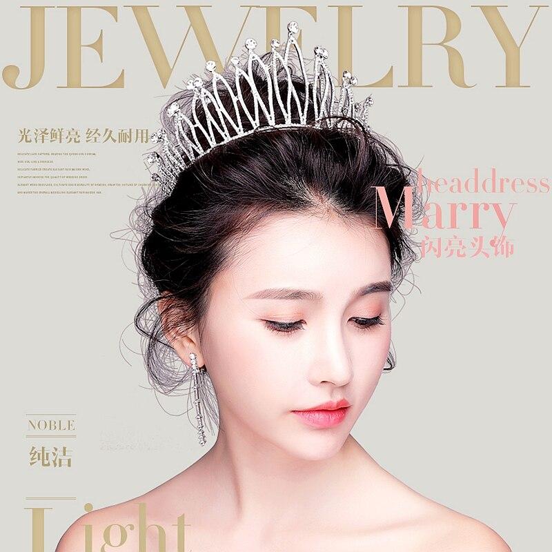 Nouveaux accessoires de cheveux de mariée diadème Style coréen boucles d'oreilles couronne ensemble bijoux robes de fil de mariage Format bal de promo bijoux en cristal