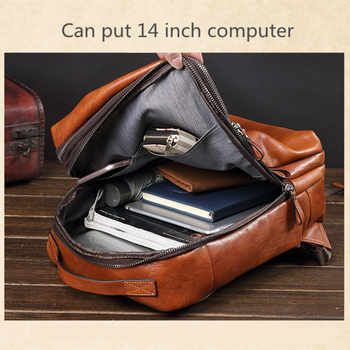 Luxury brand Genuine Leather Men\'s Backpacks male Laptop shoulder bags retro first layer Cowhide Large capacity travel backpack