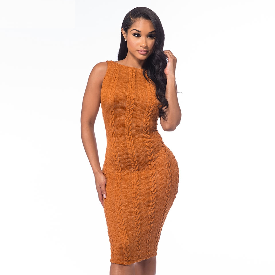 Spring Sexy 2018 Womens Sweater Knitted Dress Braid Bodycon Sleeveless Slim O Neck Vestidos Ladies Long Party Clubwear Dresses
