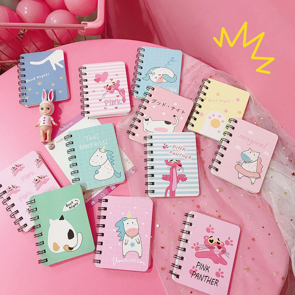 2020 New  Cute Cat Unicorn Portable Notepad With A Small Fresh Coil This Cartoon Notebook Stationery Small Book Student Gift