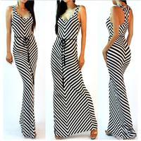 2017 New Hot Sale Dress Women Summer Stripe Sundress V Neck Casual Fit Long Dress Party
