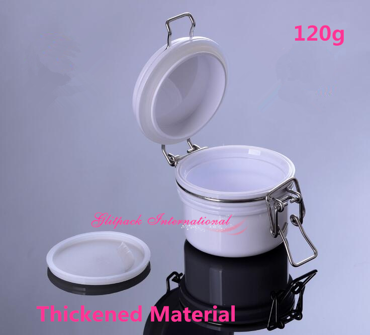 10pcs/lot White Empty 120g Plastic Jars, PET Round Wire Bale Jars W/ Hinged Lids 4oz Air Tight Seal Pot For MINERAL Mask Mud