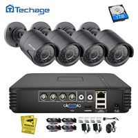 Techage 4CH 1080N AHD DVR CCTV система безопасности 1080 P 2.0MP ИК ночного видения комнатная наружная камера видео набор для наблюдения DIY Kit
